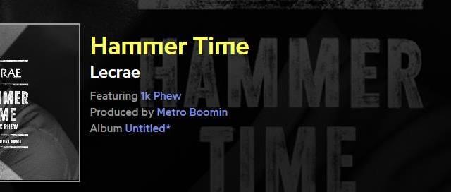 Lecrae Hammer Time ( Feat.1K Phew) Lyrics